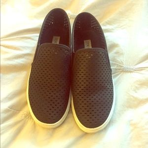 Leather perforated slip on shoes